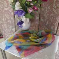 Multicoloured abstract hand painted pure silk scarf