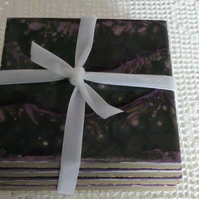 Purple and black volcanic wave coasters