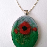 'Poppy Field' Needle Felted Pendant