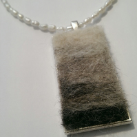 SALE Needle Felted Pendant Freshwater Pearl Necklace