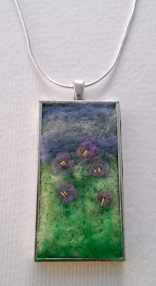 Lilac Crocus Needle Felted Art Pendant