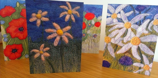 Set Of Four Floral Design Art Greeting Cards