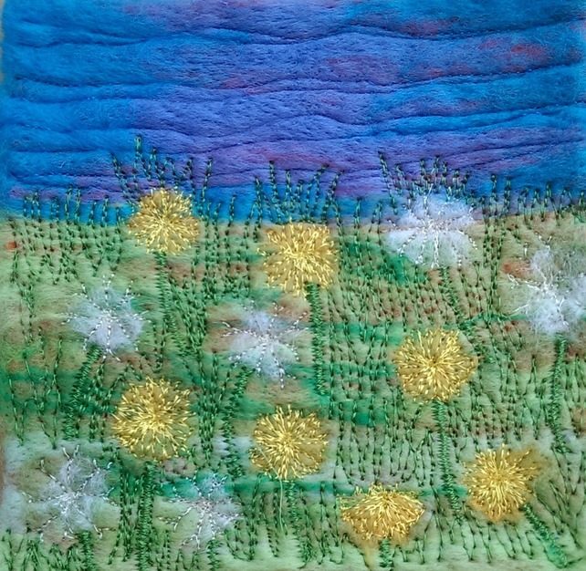 Dandelion Field Needle Felted & Embroidered Picture