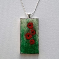 Needle Felted Poppy Field Pendant