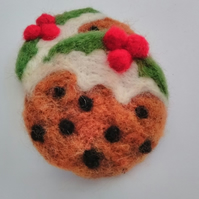 Needle Felted Christmas Pudding Brooch
