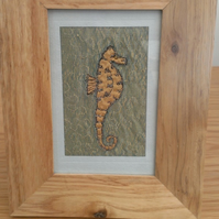 SALE Seahorse Machine Embroidered Picture