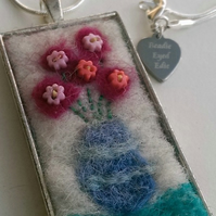 Vase Of Flowers Art Felted Necklace