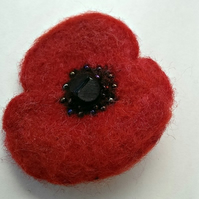 Felted Poppy Corsage Brooch