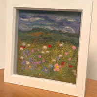 'Meadow Meditation' Needle Felted & Machine Embroidered Picture