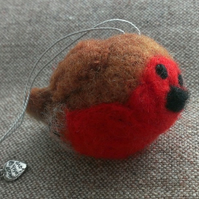 SALE Needle Felted Robin Decoration