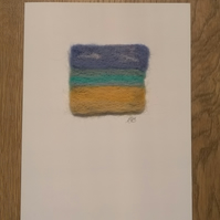 Needle Felted Seascape Greeting Card