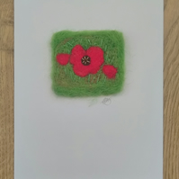 Needle Felted Poppy Greeting Card