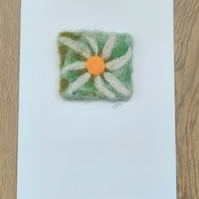 Needle Felted Daisy Greeting Card