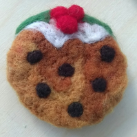 SALE Needle Felted Christmas Pudding Brooch