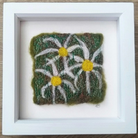 Daisy Needle Felted & Embroidered Picture