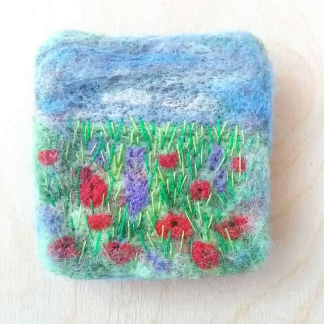 Poppy Field Needle Felted Magnetic Picture