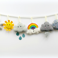 Felt Weather Garland. Handmade set of 8 felt decorations.
