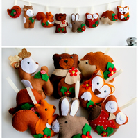 Make Your Own felt Christmas Woodland Garland Kit. Sewing pattern. DIY Craft