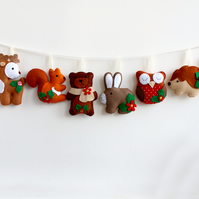 Felt Christmas Woodland Garland. Handmade set of 8 felt decorations.