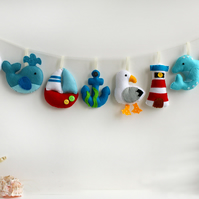 Felt Nautical Garland. Handmade set of 8 felt decorations.