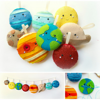 Felt Solar System Garland. Handmade set of 8 felt decorations.