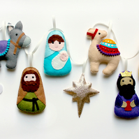 Felt Nativity Garland. Handmade set of 10 felt decorations.