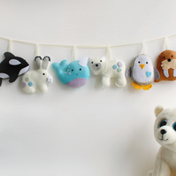 Felt Polar Garland. Handmade set of 8 felt decorations.