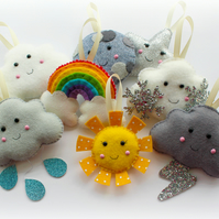 Make Your Own felt Weather Garland Kit. Sewing pattern. DIY Craft. Sew Your Own.