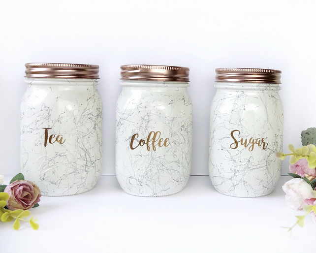 Tea Coffee Sugar Set Kitchen Canisters Rose Gold Accessories Marble