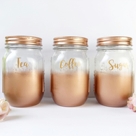 Tea Coffee Sugar Set, kitchen canisters, rose gold accessories, marble kitchen