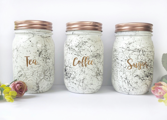 Tea Coffee Sugar Set, kitchen canisters, rose g... - Folksy