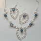 Elegant statement silver plated wirework necklace and earings  blue glass  beads