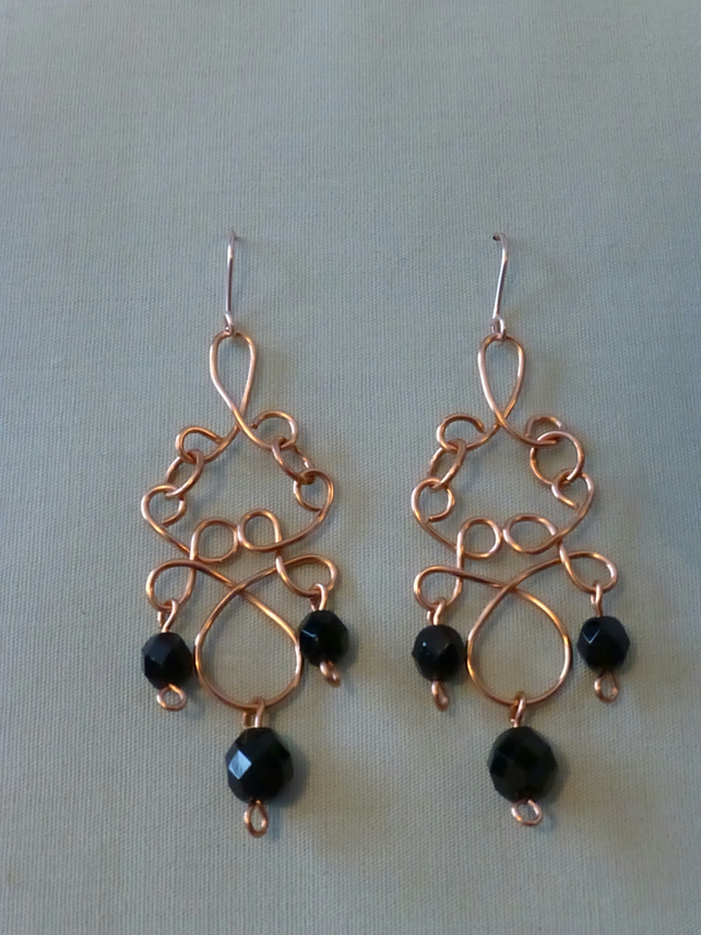 Wirework copper chandelier earrings with black glass beads