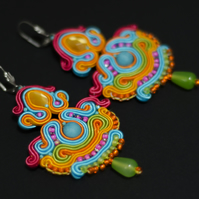 Colourful earrings folk ethnic Mexican style Frida Kahlo multicoloured jewellery