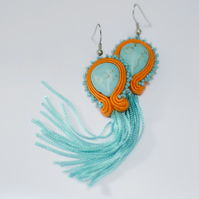 Dangle long earrings with tassels Summer jewellery Embellished colourful