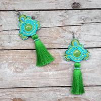 Green turquoise brazilian style oversized earrings Mexico tassels hippie fringes