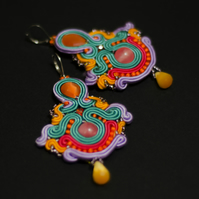 Very colourful statement earrings Boho large oversize Ethnic big large jewellery