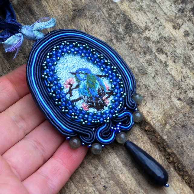 Victorian embroidered necklace Light blue navy blue jewellery with bird