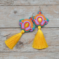 Oversized earrings Colourful with tassels extra long Multicolored boho festival