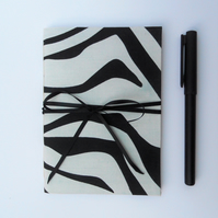 Notebook fabric covered zebra print black white soft cover A6