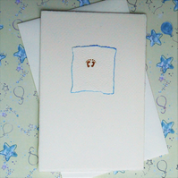 Hand Painted Gold Feet Blue for a Baby Boy Welcome Card Luxury Quality