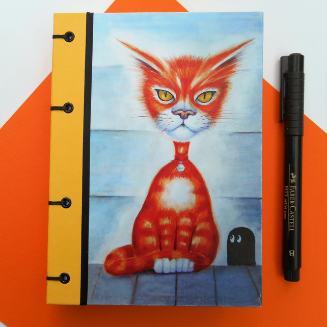 Yellow Ginger Cat & Mouse sketchbook journal hard cover A6 quality pages