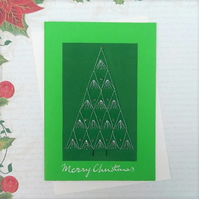 Christmas card embroidered in silver thread with glass beads