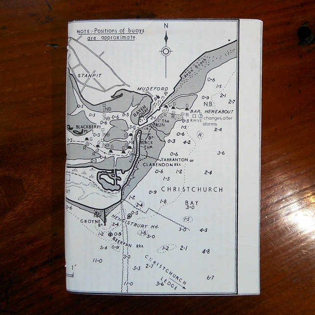 Notebook nautical Christchurch vintage chart map sea Poole bay