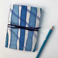 Notebook hand painted pure silk covers blue bright blue navy