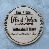 Save the date Magnet, Circle design, delivered ready to post!