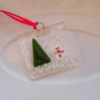 Fused Glass Hanging Decoration - Snowman and Tree with Snowflake