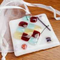 Fused Glass Suncatcher - Patchwork Sewing Theme