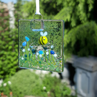 Fused Glass Suncatcher - Bee in a Flower Garden