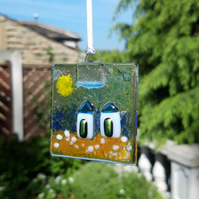 Fused Glass Suncatcher - Two Beach Huts on a Sunny Beach